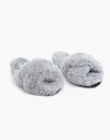 Criss Cross Alpaca Slipper Grey