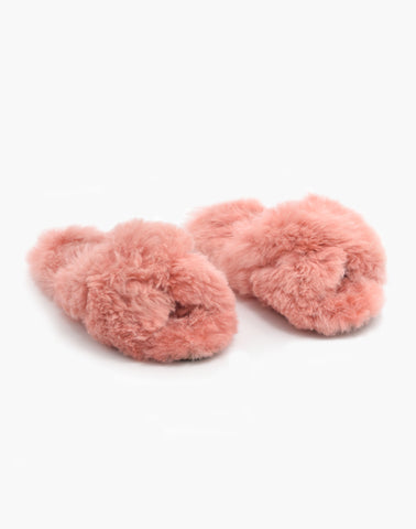 Criss Cross Alpaca Slipper Pink
