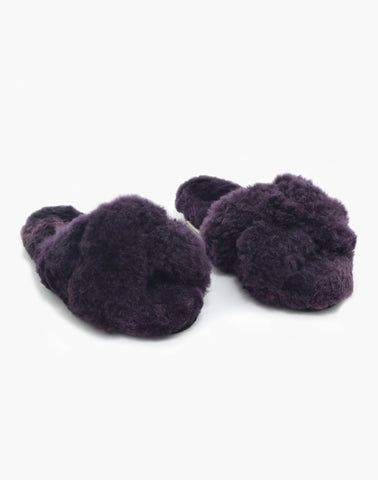 Criss Cross Alpaca Slipper Plum