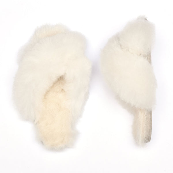 White Alpaca Slipper : Criss Cross - Ariana Bohling