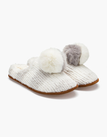 Fern Pom Slipper Grey