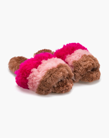 Three Stripe Alpaca Slipper Pink