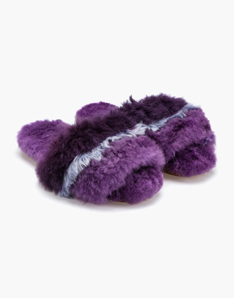 Three Stripe Alpaca Slipper Lilac