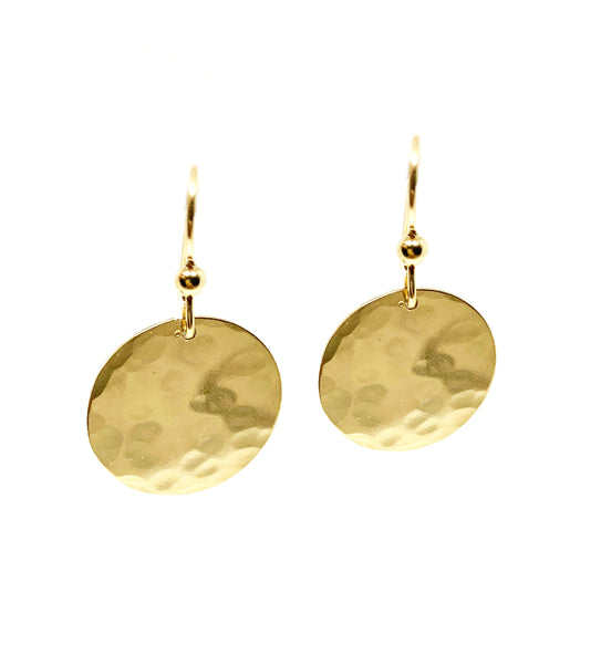 "Selah Vie 1"" Hammered Disk earrings"