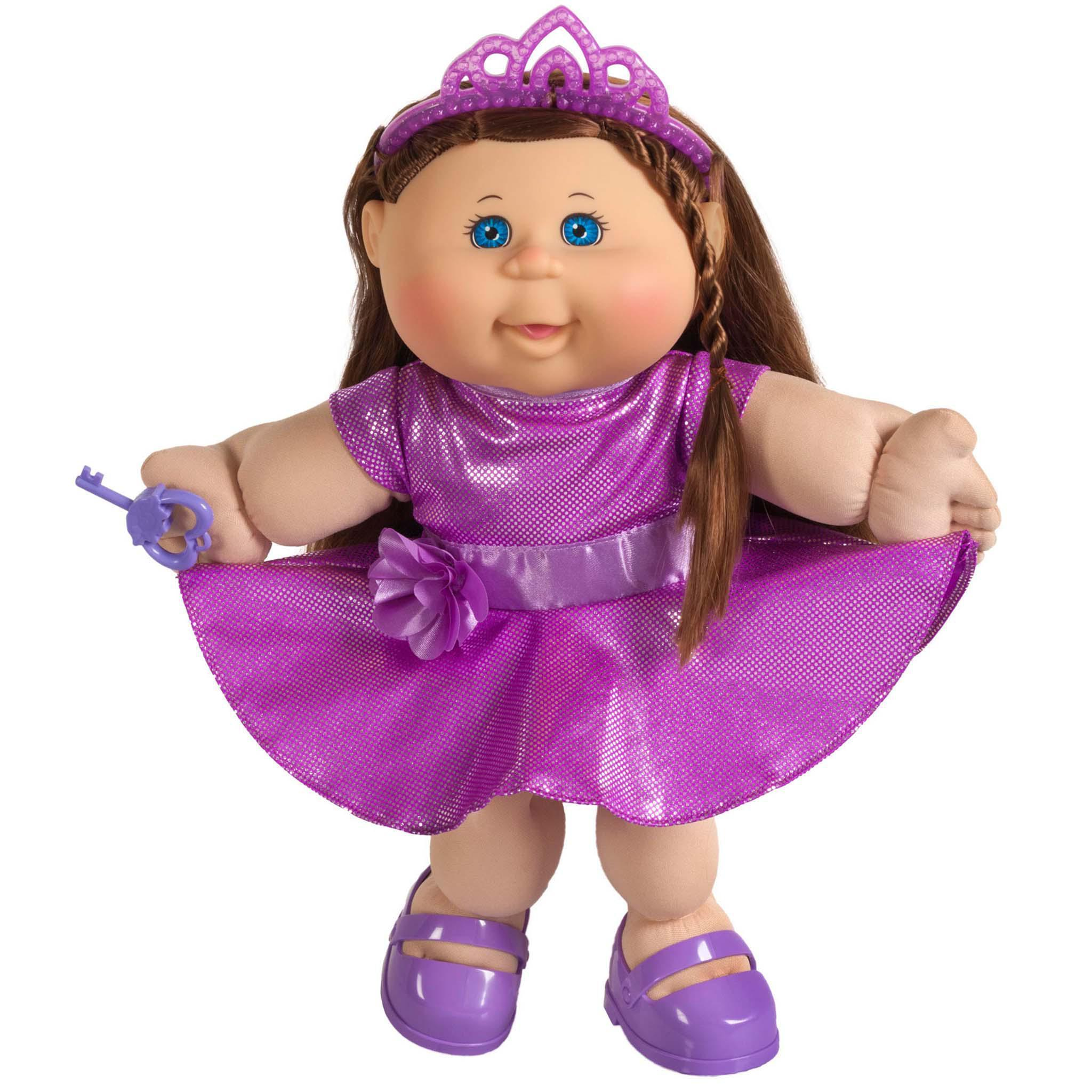 "14"" Girl  Lt Bl Br Purple Dress & Crown"