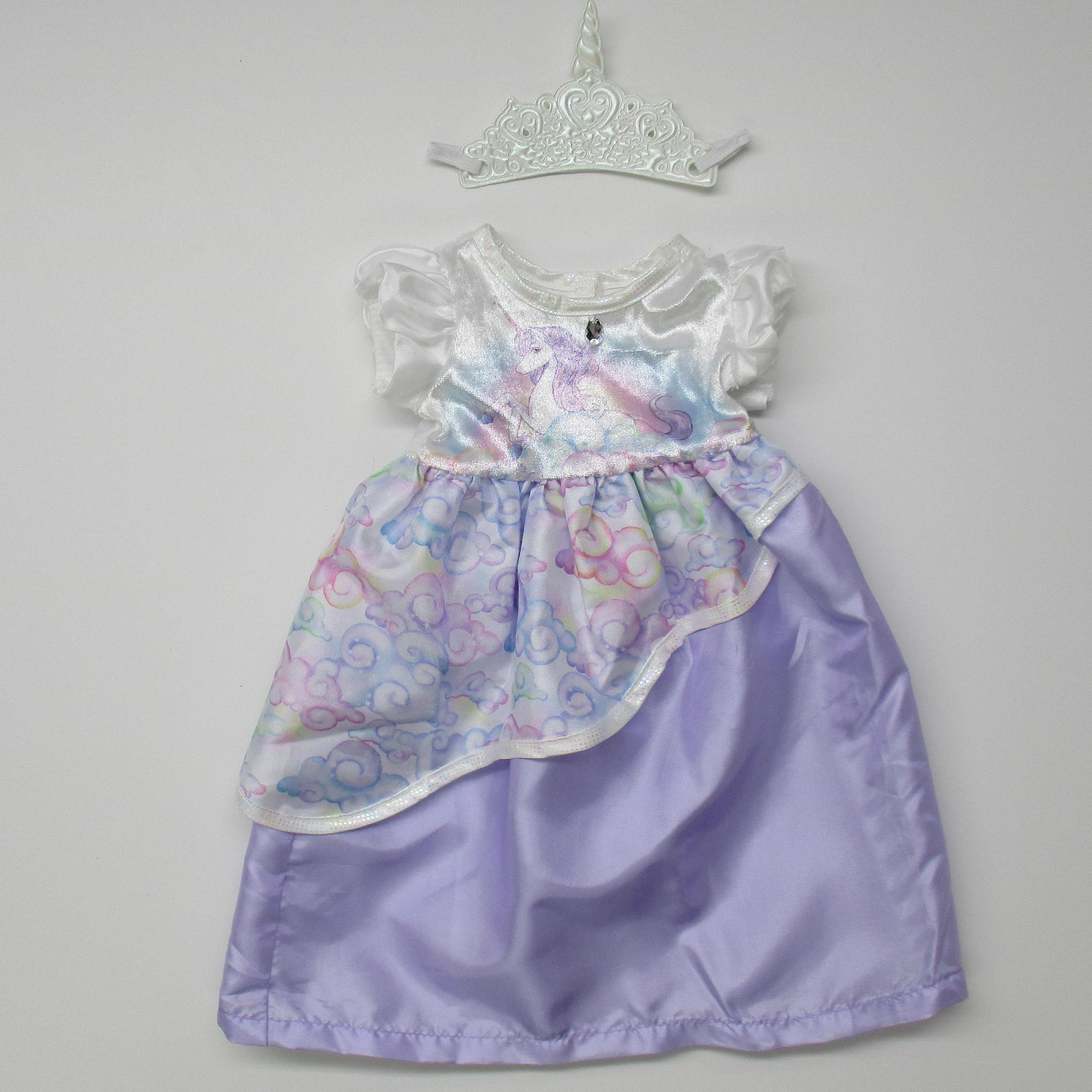 Unicorn Princess Dress Multi Purple w/Crown  17-20""