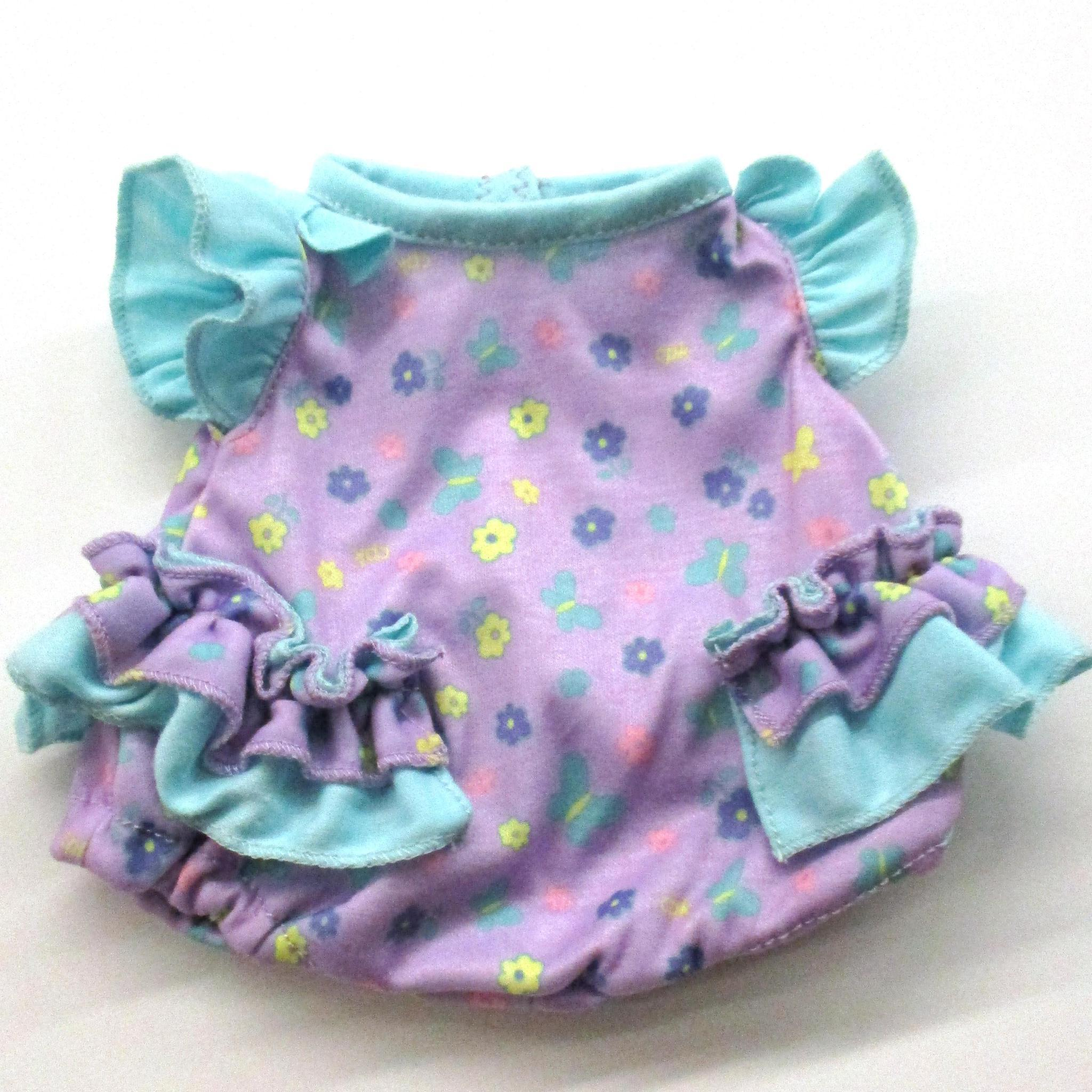 Baby Girl Fashion Purple & Teal Romper Fits 12.5""