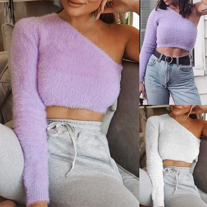 Vintage Sexy Solid Color Crop Top Women One Shoulder T Shirt Women Navel Exposed Slim Fit tshirt Purple White Tops Streetwear