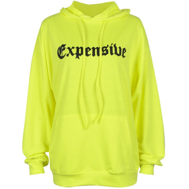 autumn new women hoodies hooded long sleeve funny letter expensive green pullovers sweatshirts tops
