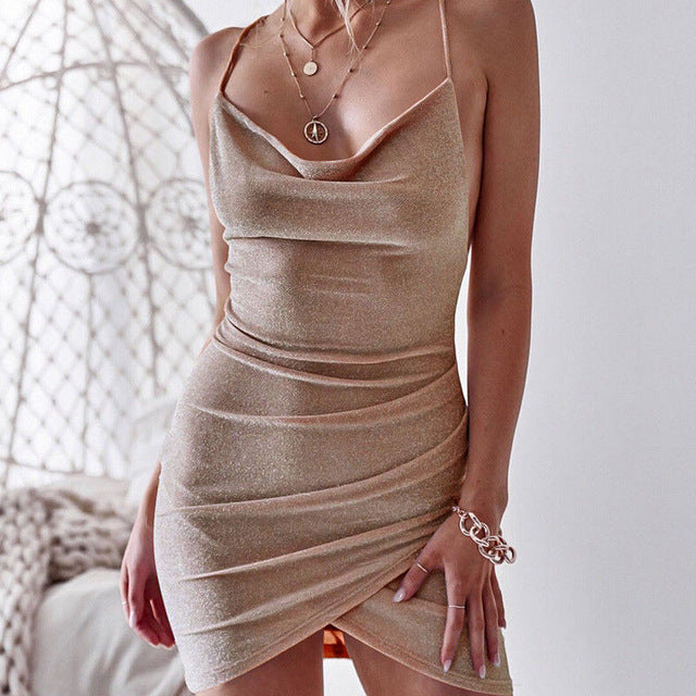 New Women Sequined Bodycon Sparkly Backless Bandage Sleeveless Evening Party Club Mini Dress Sundress