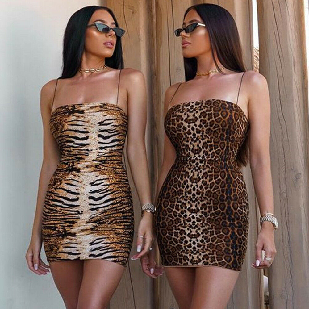Women Sexy Bodycon Spaghetti Strap Sleeveless Beach Dress Leopard/ Tiger Pattern Print Short Mini Dress