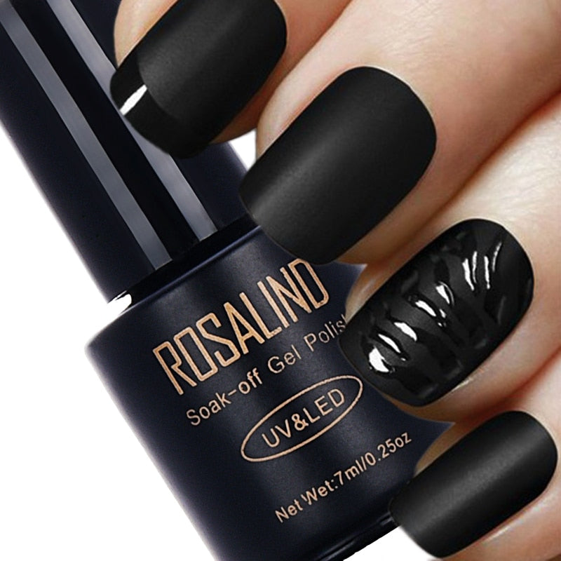 ROSALIND 7ML Black Bottle Matt Top Coat UV Gel Nail Polish Nail Art Nail Gel Polish UV LED Soak-Off Long Lasting Gel