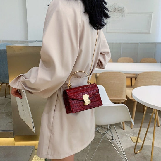 Stone pattern PU Leather Crossbody Bags For Women 2019 Mini Shoulder Messenger Bag With Metal Handle Lady Travel Totes