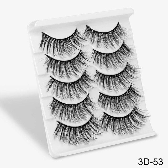 5Pairs 3D Mink Hair False Eyelashes Natural/Thick Long