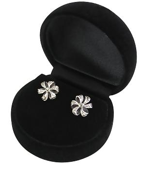 Ribbon Bow Sterling Silver Earrings with Marcasites