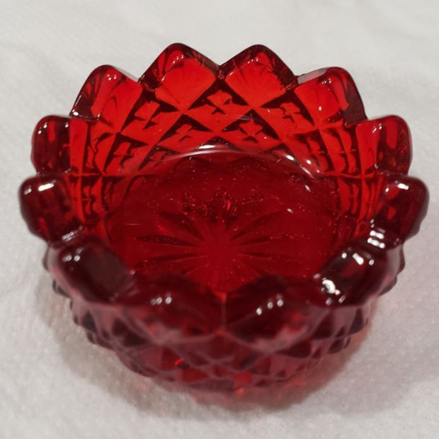 Ruby Red Sawtooth Hand Pressed Glass Ring Holder