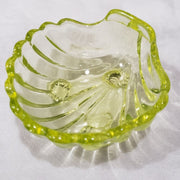 Footed Shell Yellow Hand Pressed Glass Ring Holder
