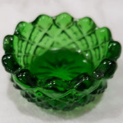 Green Sawtooth Hand Pressed Glass Ring Holder