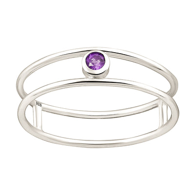 Amethyst Solitaire Sterling Silver Ring