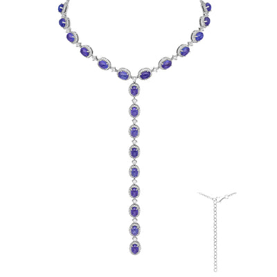 "Tanzanite & Simulated Diamond Adjustable Lariat Necklace 13"" - 16"""