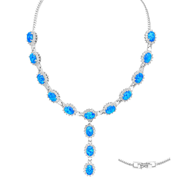 Created Opal & Diamond Simulant Lariat Sterling Silver Necklace