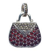 Marcasite And Garnet Purse Pendant in Sterling Silver