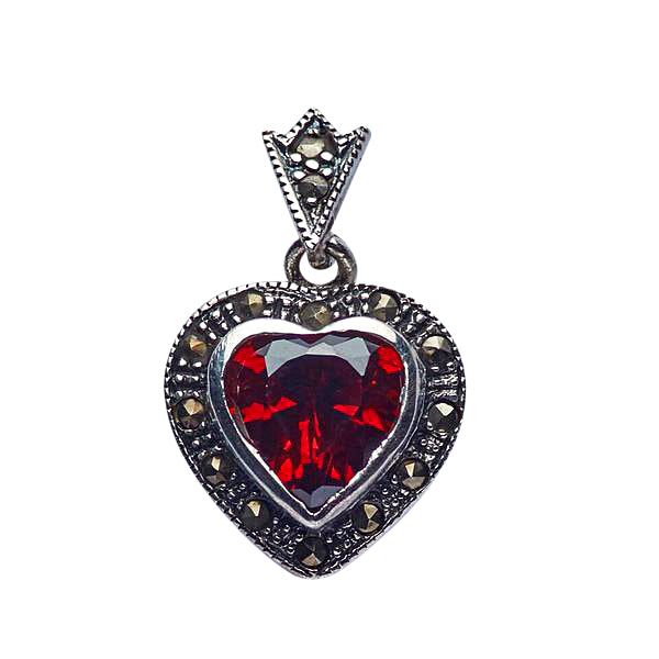 Marcasite And Garnet Heart Pendant in Sterling Silver