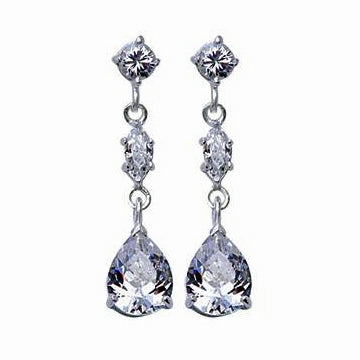 Three-Stone Crystal Dangle Earrings | SilverAndGold