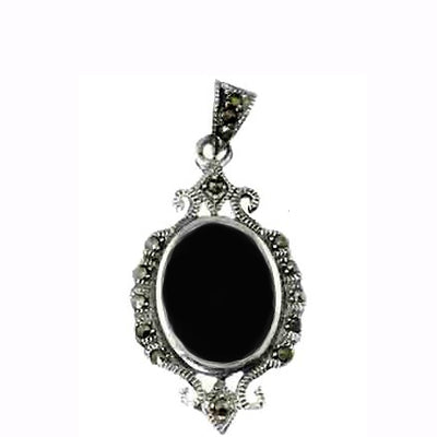 Large Black Onyx and Marcastie Pendant in Sterling Silver