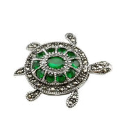 Sterling Silver And Green Gemstone Turtle Brooch Pin