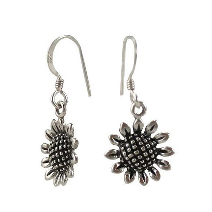 Sterling Silver Sunflower Dangle Earrings | SilverAndGold