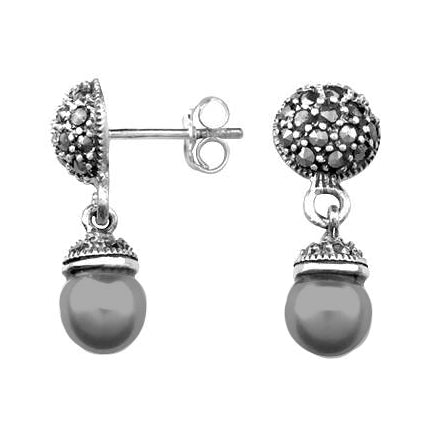 Sterling Silver Large Black Pearls And Marcasite Gemstones Earrings