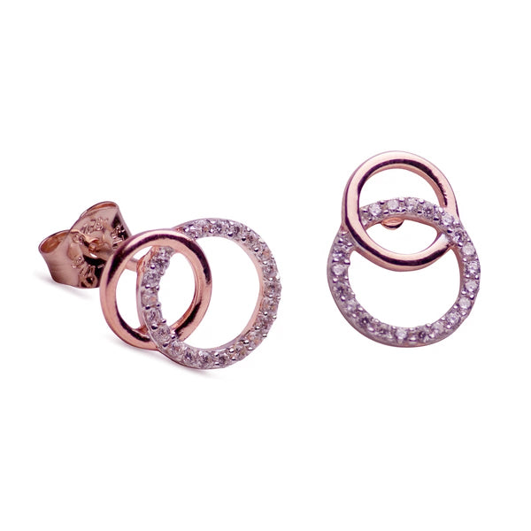 Interlocking Circles Cubic Zirconia & 14K Rose Gold Over Sterling Silver Earrings