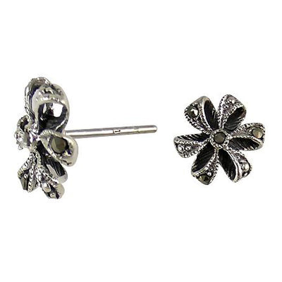 Bow Sterling Silver Marcasite Earrings | SilverAndGold