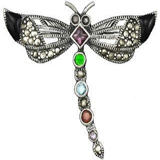 Sterling Silver and Gemstone Dragonfly Pin Brooch