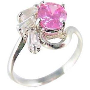 Sterling Silver Pink and Clear Gemstone Ring
