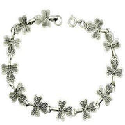 Sterling Silver Three Leaf Clover Bracelet