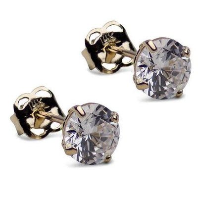 1.68 ct Round Cubic Zirconia 14K Gold Earrings | SilverAndGold