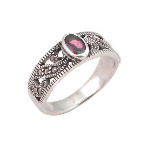Amethyst Gemstone Ring in Sterling Silver