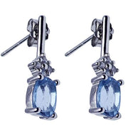 Blue Topaz & Swarovski Crystal Drop Earrings | SilverAndGold