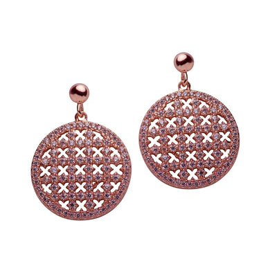14K Rose Gold Plated Sterling Silver Crisscross Dangle Earrings