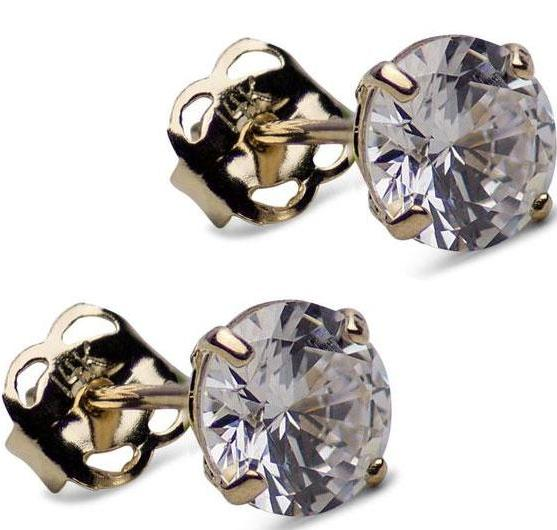 0.92 TCW Solid 14K Yellow Gold 5mm Round Cut Clear Cubic Zirconia Earrings