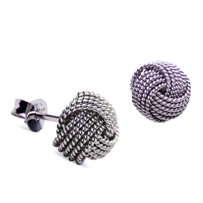Woven Sterling Silver Love Knot Earrings Rhodium Plated