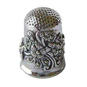 Sterling Silver Floral Thimble With Onyx