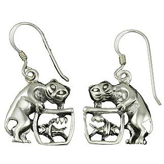 Sterling Silver Kitten In Fishbowl Earrings | SilverAndGold
