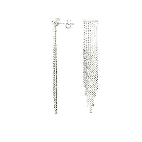 Sterling Silver Chandelier Chain Waterfall Earrings | SilverAndGold