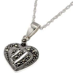Sterling Silver and Marcasite Heart Pendant