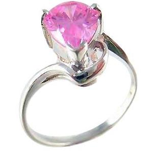 Sterling Silver Pear Cut Pink Gemstone Ring