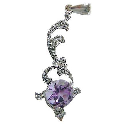 Amethyst and Marcasite Pendant in Sterling Silver