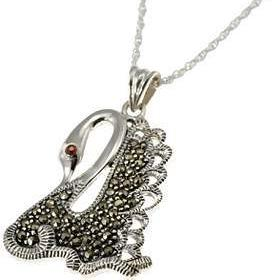 Swan Garnet and Marcasite Pendant Necklace in Sterling Silver